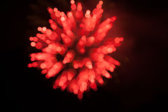 Blur Red Fireworks. Unique capture of time lapse pyrotechnics stock photo
