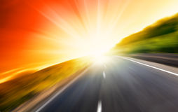 Blur road and sun Royalty Free Stock Photo