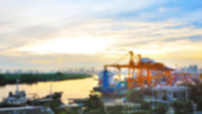 Blur scenery view point of Industria Container Cargo freight ship Royalty Free Stock Photo