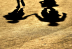 Blur-Shadows of couple in love on a walk. Royalty Free Stock Photos