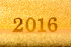 Blur shiny glittering gold 2016 background Stock Images