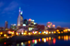 Blur shot of Nashville. Tennessee downtown skyline with Cumberland River in USA stock photos