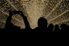 Blur of Silhouette people with beuatiful light in new year festi Royalty Free Stock Image