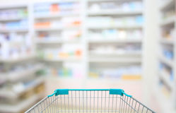 Blur some shelves of drug in the pharmacy. Drugstore Royalty Free Stock Photo