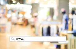 Blur store and bokeh light with address bar, online shopping bac Royalty Free Stock Photography