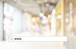 Blur store and bokeh light with address bar, online shopping bac Stock Photo