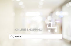 Blur store and bokeh light with address bar, online shopping background Stock Image