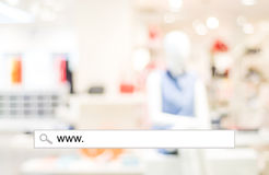 Blur store and bokeh light with address bar, online shopping background Stock Photography