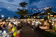 Blur Street Market Festival. Abstract Blur Festival Events Market Outdoor With People walking night market for background usage Stock Images