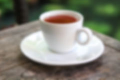 Blur tea background. Blur Hot tea on table, Strawberry Tea Stock Photo