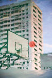 Blur technique of  basketball hoop shoot reflection on the wet f Stock Images