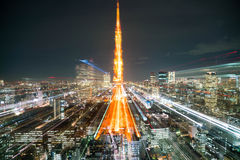Blur Tokyo City Skyline at Night Royalty Free Stock Photos