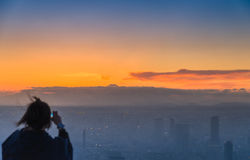 Blur Tourist take photo Fuji mountain in the evening scene Royalty Free Stock Images