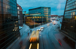 Blur of traffic on city street at night Stock Photography