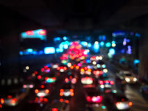 Blur of traffic jam and many car on night at Bangkok Royalty Free Stock Images