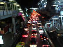 Blur traffic jam at night. Stock Photos