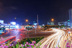 Blur traffic light at Victory monument public landmark Royalty Free Stock Photo