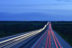 Blur of traffic on roadway Stock Photos