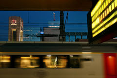 Blur of train, Brussels, Belgium Stock Photography