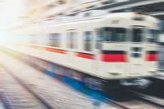 Blur train fast japan local railway. Transport concept for background Stock Photos