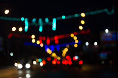 Blur trffic and car lights bokeh. Stock Photos