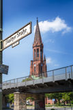 Blur view of Protestant Church Emmaus from Skalitzer Strasse. Berlin (Germany Royalty Free Stock Images