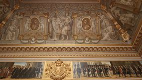Blur wall and ceiling inside Versailles palace royalty free stock images