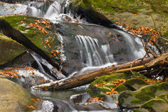 Blur Waterfall and ice. Bieszczady mountains royalty free stock photo