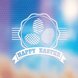 Blured background.  Easter vintage label. Stock Photos