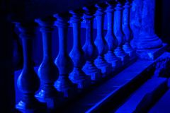 Blured and blue background abstraction - Balustrade. Soft blue background abstraction the Balustrade stock photo
