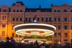 Blured carousel on christmas market in Kyiv, Ukraine Royalty Free Stock Photography