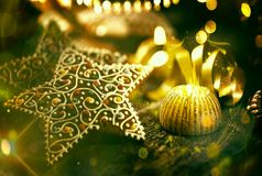 Blurred Christmas background with snow and bokeh royalty free stock photo