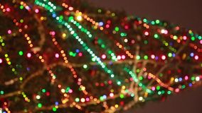 Blured christmas tree with colourful stock video