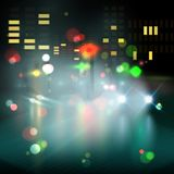 Blured lighhts in city night Stock Photos