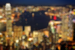 Blured lighhts from peak Victoria, Hong Kong Stock Photo