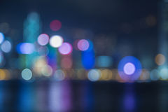 Blured lights of Hongkong Cityscape Royalty Free Stock Images