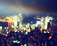 Blured lights from peak Victoria, Hong Kong Royalty Free Stock Image