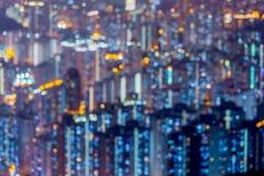 Blured ljus av den Hong Kong staden Arkivbild