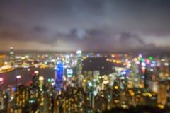 Blured ljus från maximala Victoria, Hong Kong Royaltyfri Fotografi
