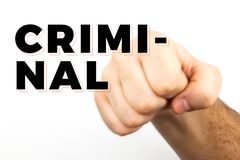 Blured Male hairy hand shows fist that symbolizes danger, crime, blow, fight isolated on white background and text `criminal.  royalty free stock photo