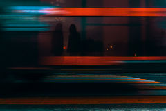 Blured motion. Blurred motion: the transport is passing the crosswalk Stock Photography