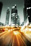 Blured Night lights of the Hong Kong Stock Photos