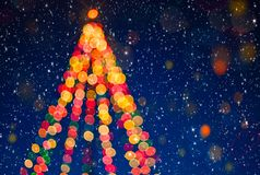 Blured Party background.Christmas tree with snow royalty free stock photo