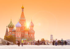 Blured people on Red Square. In Moscow with Saint Basil`s Cathedral on the background Stock Photo