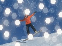 Blured Snowboarder with abstract Bokeh flights for winter backgr Stock Images