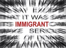 Blured text with focus on IMMIGRANT royalty free stock photography