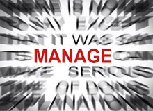 Blured text with focus on MANAGE royalty free stock images