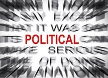 Blured text med fokusen på POLITISKT arkivbild