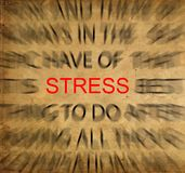 Blured text on vintage paper with focus on STRESS royalty free stock photography