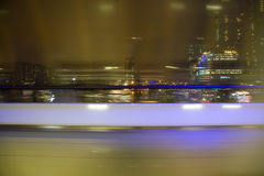 Blured view from window on night city Royalty Free Stock Photos